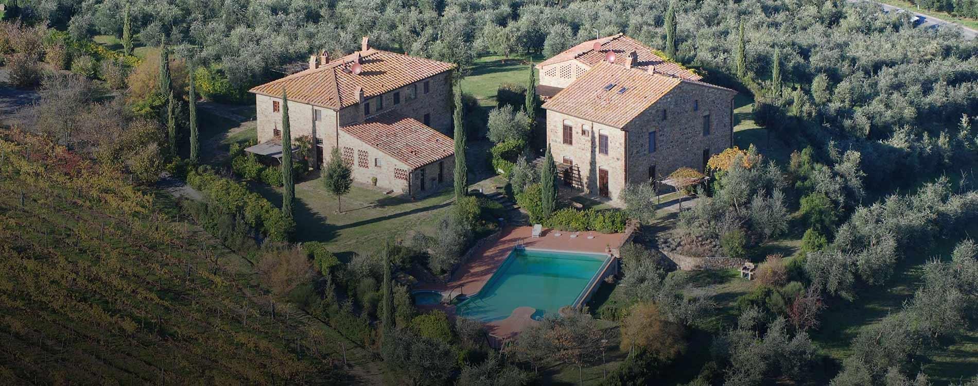 Rigone in Chianti, esterni dell'agriturismo in Toscana